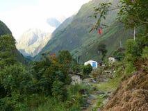 在达娜,尼泊尔附近的一点解决 库存图片