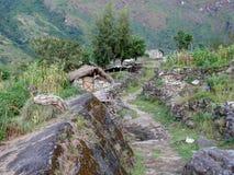 在达娜,尼泊尔附近的一点解决 库存照片