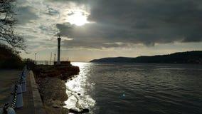 在达达尼尔海峡的日落 免版税库存照片
