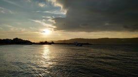 在达达尼尔海峡的日落 库存照片