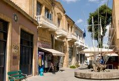 在过境附近的街道在尼科西亚,塞浦路斯 免版税库存照片