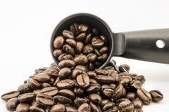 在过滤器篮子的咖啡豆 库存图片
