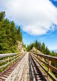 在迈拉峡谷的历史的叉架桥在基隆拿,加拿大 库存图片
