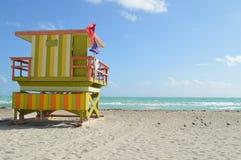 在迈阿密海滩的救生员驻地 图库摄影