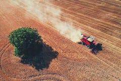 在运作在大麦田的组合的鸟瞰图 免版税库存照片