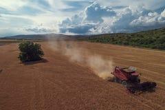 在运作在大麦田的组合的鸟瞰图 图库摄影