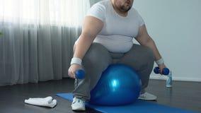 在运动服举的哑铃坐健身球,活动的肥头大耳的男性 股票录像