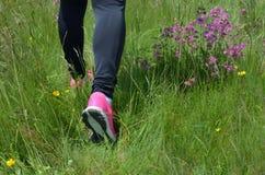 在运动服的女性腿在草甸 免版税库存图片