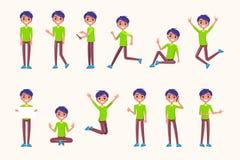 在运动的人姿势,在跃迁期间,当跑时 向量例证