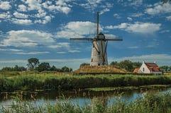 在运河旁边的老风车有灌木的和树丛在下午光和蓝天末期的背景中,在达默附近 库存图片