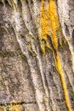 在运河桥梁的橙色水位标记在兰开夏郡 免版税库存照片