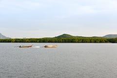 在运河泰国的两条渔夫小船 免版税库存照片