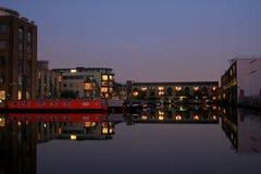 在运河的夜间 免版税库存图片