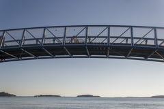在运河的小桥梁在海边 库存照片