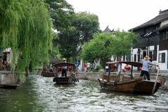 在运河的小船在朱家角 图库摄影