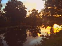在运河的日落 免版税图库摄影