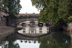在运河的桥梁,史特拉斯堡Frence 库存照片