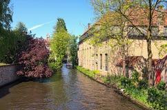 在运河,传统房子在老镇布鲁日,春天树的游船 比利时布鲁日 库存照片