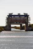 在运河du罗讷的反洪水 免版税库存图片