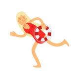 在运行与lifebuoy例证的红色泳装的白肤金发的救生员女孩字符 免版税库存照片