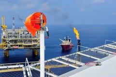在近海油和煤气平台的风向袋 库存照片