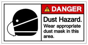 在这个区域标志标志的危险尘土危险穿戴适当的防尘面具,传染媒介例证,隔绝在白色背景标签 库存例证