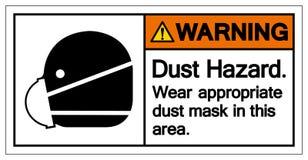 在这个区域标志标志的警告的尘土危险穿戴适当的防尘面具,传染媒介例证,隔绝在白色背景标签 库存例证
