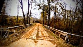 在这座老桥梁的步行 库存照片