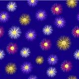 在这里有丁香,桃红色,白色,在蓝色背景的黄色翠菊 patern无缝 库存例证