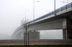 在进入雾的河的桥梁 免版税库存图片
