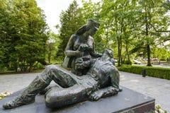 在进贡的纪念品对波兰妇女战士 免版税库存照片