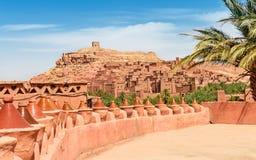 从在远处的Ait Benhaddou Kasbah视图 摩洛哥 免版税库存照片