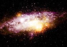 在远的星系的星、尘土和气体星云 免版税库存图片