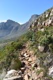 在远足在桌山的板材夹子的美妙的自然道路在开普敦,南非 免版税库存照片