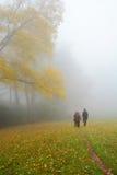 在远足旅行的家庭在有雾的森林里 免版税库存照片