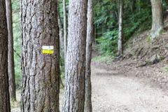 在远足道路的标注 免版税库存照片