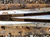 在连接点火车站附近的铁路铁路 库存图片