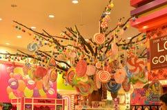 在迪拜商城,街市的迪拜, 2015年5月6日的阿联酋的藤的商店显示 库存照片