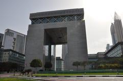 在迪拜国际金融中心的门 免版税库存图片