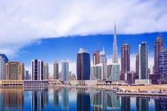 在迪拜市中心,阿联酋的看法 图库摄影
