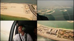 在迪拜的直升机游览 2014年 阿拉伯酋长管辖区团结了 股票录像