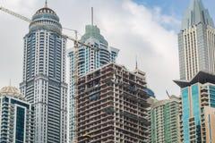 在迪拜详述房子建造场所看法  免版税库存图片