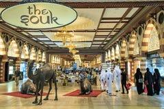 在迪拜购物中心,根据总面积的世界的最大的商城的金子Souq 库存照片
