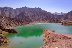 在迪拜hatta水坝的看法 库存图片