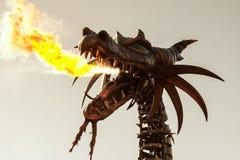 在迪斯尼世界的龙呼吸的火 库存图片