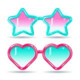 在迪斯科样式,颜色玻璃桃红色和浅兰的太阳镜 免版税库存图片