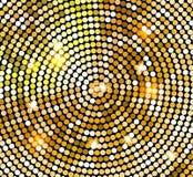 在迪斯科球样式的金黄发光的马赛克 传染媒介金迪斯科点燃背景 抽象背景 皇族释放例证