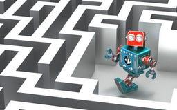 在迷宫的机器人 概念查出的技术白色 库存照片