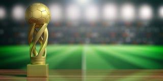 在迷离体育场背景的足球橄榄球金黄战利品 3d例证 皇族释放例证