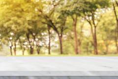 在迷离秋天自然公园背景的空的白色大理石桌 免版税库存照片